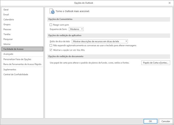 Facilidade de acesso nas configurações do Outlook.