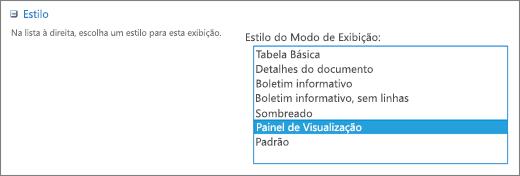 Opções de estilos na página Exibir configurações