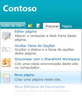 Opção Nova página no menu Ações do Site