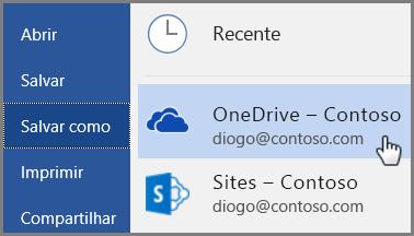 Início Rápido para funcionários: Salvamento do Word no OneDrive