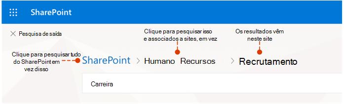 Captura de tela mostrando onde os resultados chegam e locais alternativos para Pesquisar