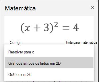 Gráfico 2D opção no painel de matemática