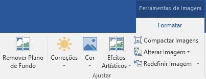 O botão Remover plano de fundo está na guia Formatar ferramentas de imagem da faixa de opções do Office 2016.