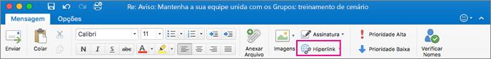 Botão Hiperlink na faixa de opções do Outlook para Mac