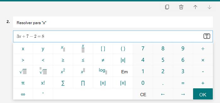 Opções de equação matemática para um teste no Microsoft Forms