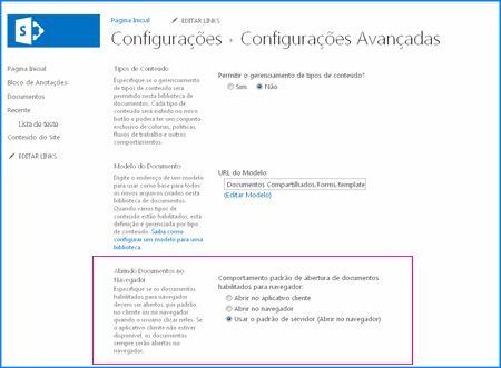 Instantâneo da página Configurações Avançadas de uma Biblioteca de Documentos do SharePoint