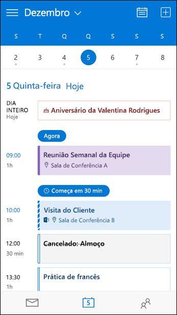 Exibição da Agenda