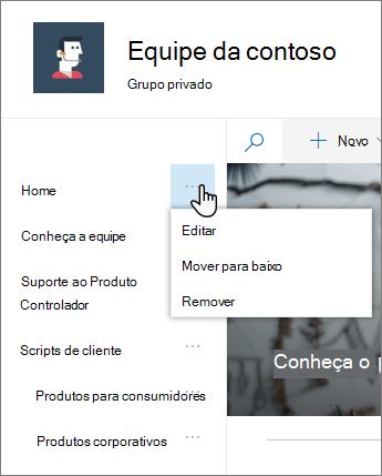 A opção Editar no menu de navegação de início rápido