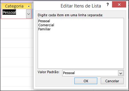 Caixa de diálogo Editar Itens de Lista em um formulário do Access