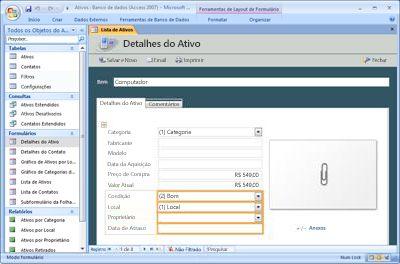 Modificar o modelo de banco de dados de Ativos