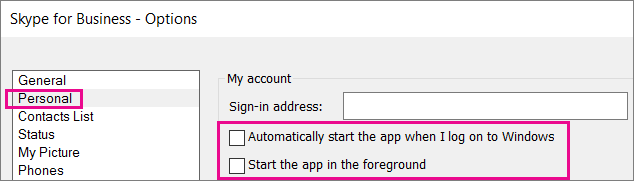 Escolha Pessoal e desmarque as opções para iniciar automaticamente.