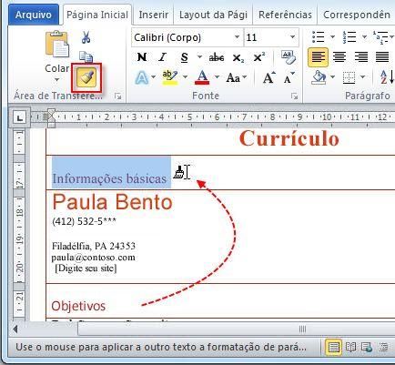 inserir o cabeçalho informações básicas e usar o pincel de formatação