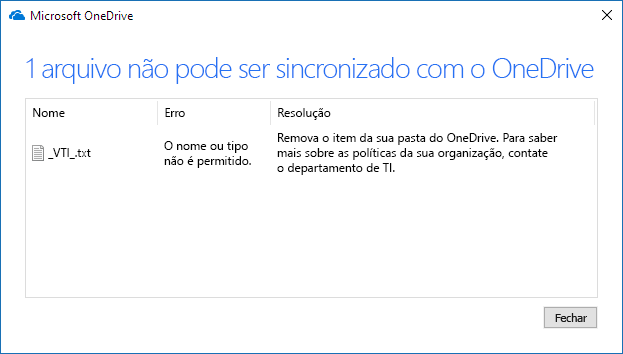 Não é possível sincronizar o arquivo do OneDrive