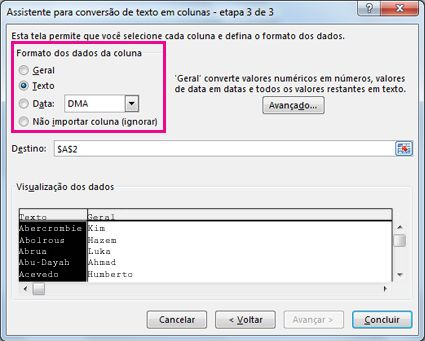 Etapa 3 do Assistente para Conversão de Texto em Colunas