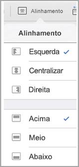 menu de alinhamento de texto de iPad