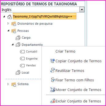 você pode selecionar um nome de grupo na ferramenta de repositório de termos para abrir um menu que permite adicionar termos a um conjunto de termos