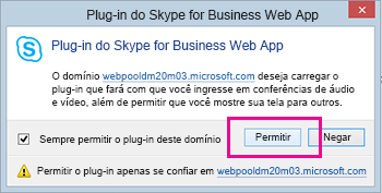 Domínio Confiar no Plug-in do Skype for Business Web App