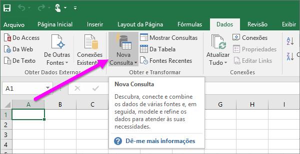 Nova consulta no Excel 2016