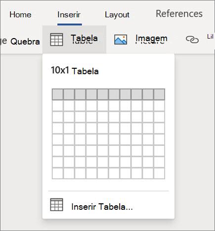 Inserir tabelas no Word para a Web