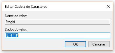 Selecione o valor ProgID em Editar cadeia de caracteres