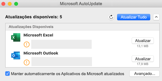 Imagem do painel do Microsoft AutoUpdate com informações sobre as atualizações.