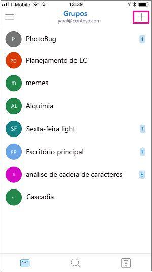 Toque no sinal de adição no canto superior direito da tela para criar um grupo