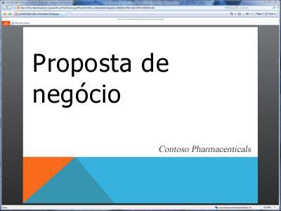 uma apresentação de slides transmitida, conforme visto no navegador