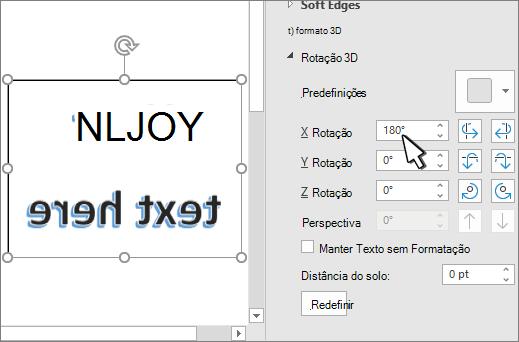 configurações de rotação 3-D com X definido para 180 graus