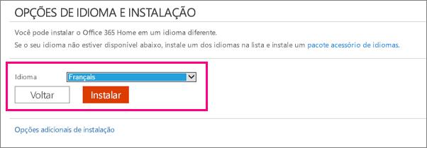 Mostra a tela do idioma de instalação no gerenciamento de contas do Office 365