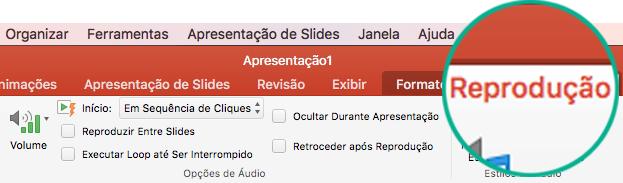 Quando um vídeo é selecionado em um slide, uma guia Reprodução é exibida na faixa de opções da barra de ferramentas, permitindo que você defina as opções de reprodução de vídeo.