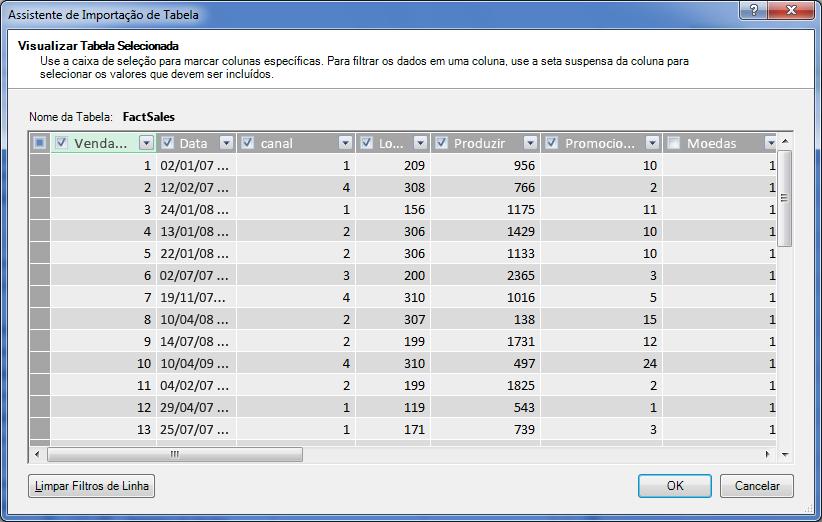 Painel Visualizar no Assistente de importação de tabela