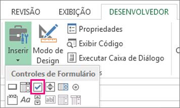 o controle de caixa de seleção na faixa de opções