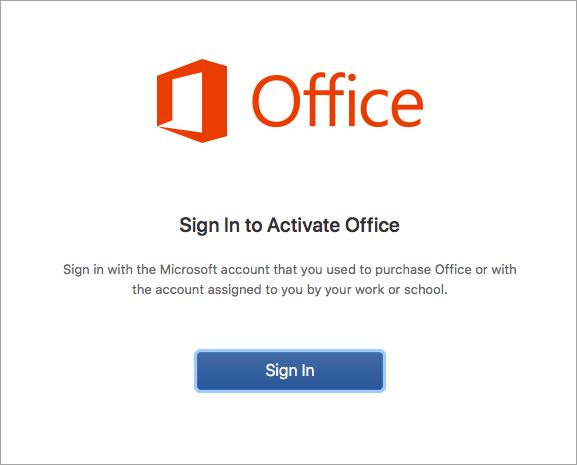 Selecione entrar para ativar o Office para Mac