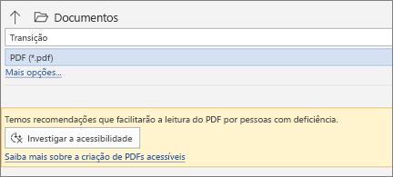 Caixa de diálogo Salvar como PDF com caixa de mensagem amarela convidando você a verificar a acessibilidade do seu PDF antes de salvar
