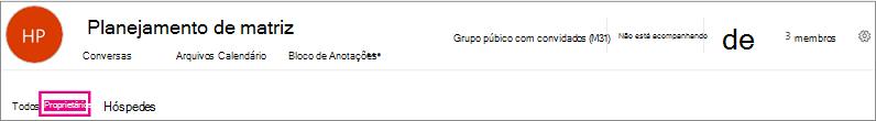 Cabeçalho de grupos com o link de proprietários realçado