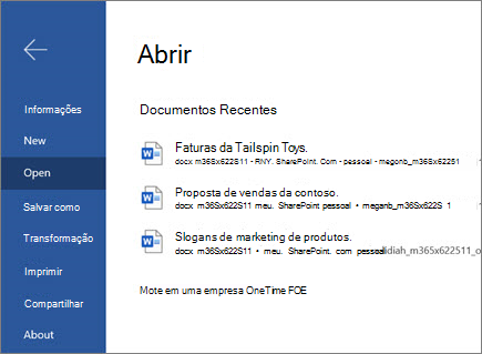 Abrir um documento no Word