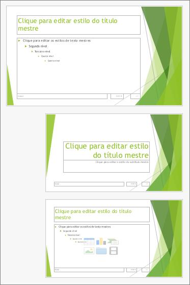 Slide mestre com layouts de dois slides