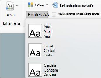 Na guia slide mestre, clique em fontes
