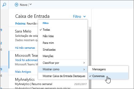 Captura de tela da Caixa de entrada mostrando Filtro > Classificar como > Conversas selecionado.