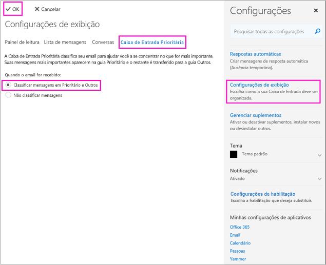 Na página Configurações de Exibição você pode habilitar ou desabilitar a Caixa de Entrada Prioritária