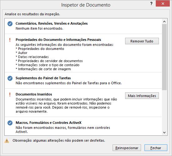A caixa de diálogo Inspetor de Documento é mostrada com a opção Remover Tudo