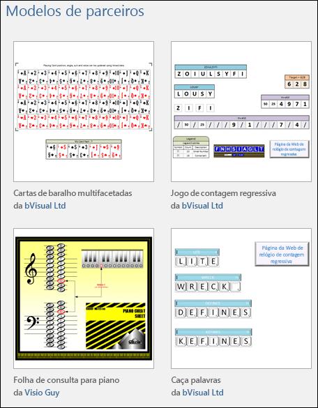Quatro miniaturas de modelos de educação do Visio de fornecedores terceirizados
