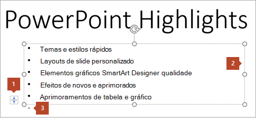 Texto do slide com espaço reservado