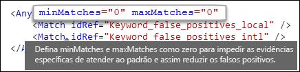 Marcação XML mostrando o valor zero do atributo maxMatches