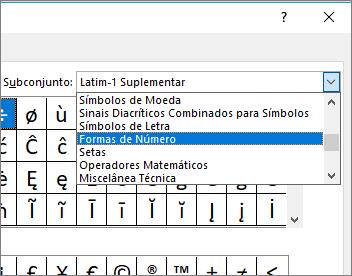 Selecione Formas de número na caixa de diálogo Subconjunto para mostrar frações e outros símbolos matemáticos