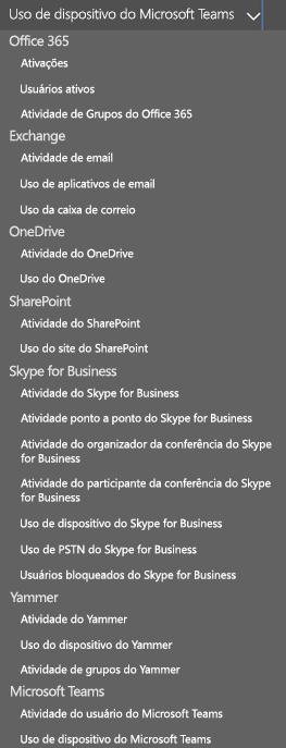 Selecione um relatório – atividade de usuários do Microsoft Teams.