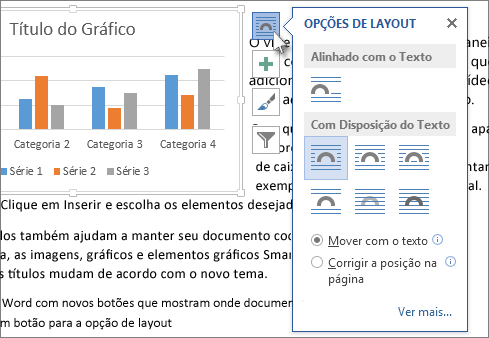 opções de layout de gráfico
