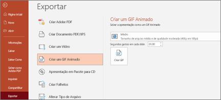 Arquivo> Exportar página com Criar um GIF animado realçado