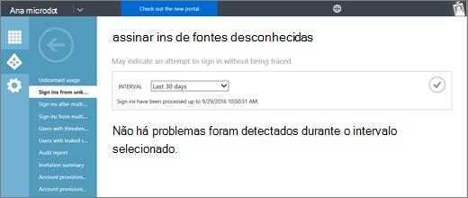 """Captura de tela mostra a página do relatório """"Assinar ins de fontes desconhecidas"""", disponível na página relatórios da guia do Active Directory no portal de gerenciamento do Azure."""