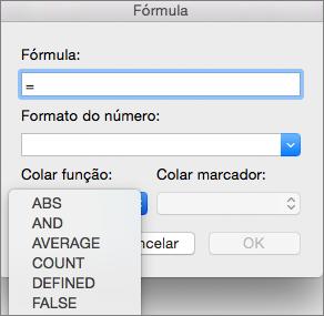 Na caixa Fórmula, selecione a função na lista Colar função
